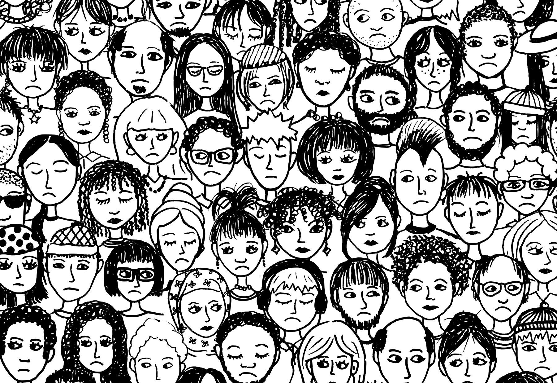Картинка много лиц людей